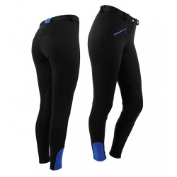 Pantalon d'équitation noir avec élastiques bleu