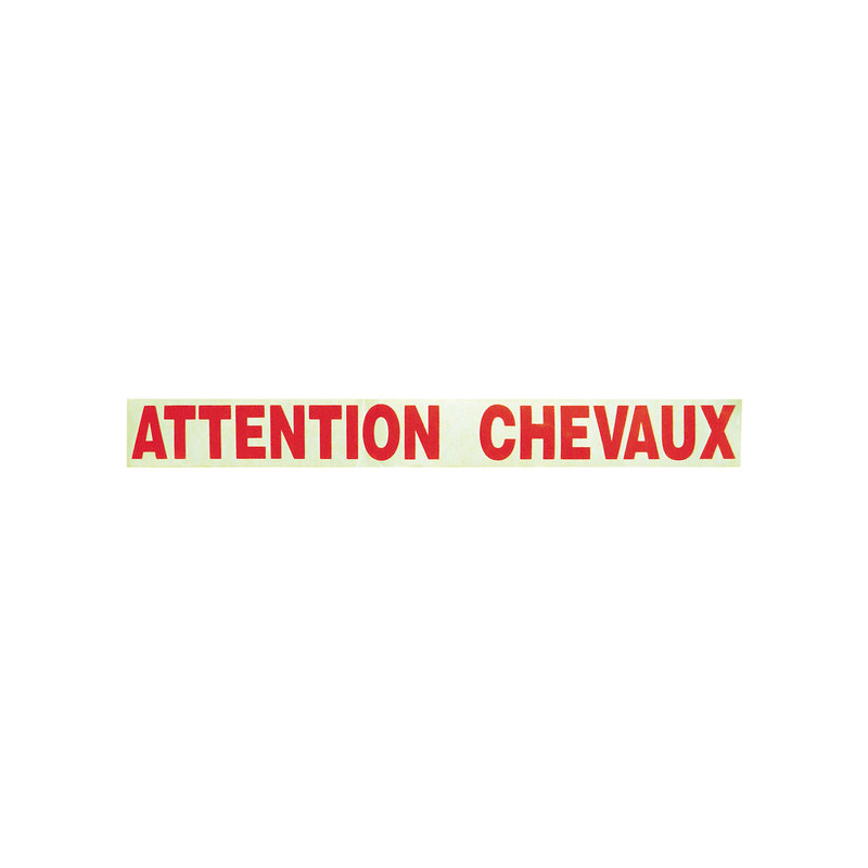Adhésif ''Attention chevaux'' rouge