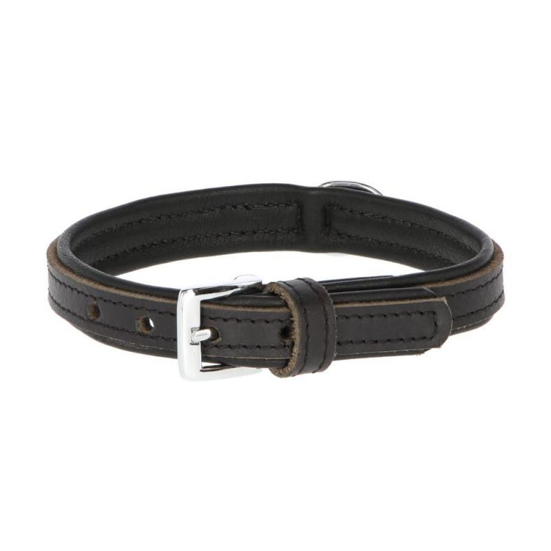 Collier pour chien en cuir doublé noir