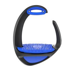 Étriers Compositi Ellipse Pro noir avec plancher + œillet bleu