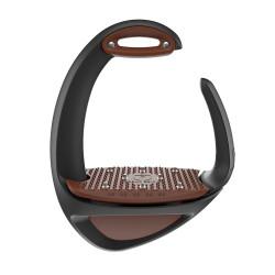 Étriers Compositi Ellipse Pro noir avec plancher + œillet marron