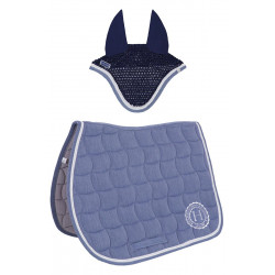 Pack tapis de selle Coen et bonnet Chilla bleu denim